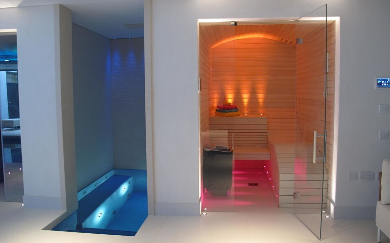 Innovative Chromotherapy in Family Basement Spa Area